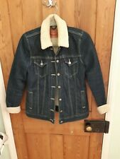 Levis Denim Jacket Sherpa Dark Blue Size S