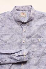 Barbour Blue 100% Cotton Long Sleeve Fish Print Catch Button Up Mens Shirt Med