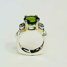 Sterling Silver and 18Kt Peridot Stone Ring with Accent Princess Cuts Size 7