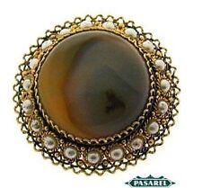 Pearl Brooch Pendant 1950s Gilt Silver Filigree Agate