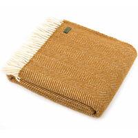 TWEEDMILL TEXTILES KNEE RUG 100% Wool Sofa Bed Throw Blanket FISHBONE MUSTARD