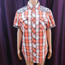 Age of Wisdom Snap Button Red Plaid Paisley Short Sleeve 100% Cotton Men's S