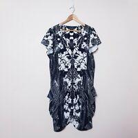 City Chic Plus Size L Black White Geometric Aztec Zip Front Utility Tunic dress