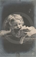 1908 RPPC of GIRL IN CURLS w KITTEN (#4) Postcard REAL PHOTO Photograph CAT