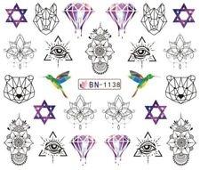 Nail Art Stickers Water Decals Transfers Black Designs Purple Jewels (BN1138)