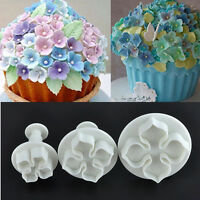 3pcs/Set Hydrangea Fondant Cake Decorating SugarCraft Plunger Cutter Flower Mold
