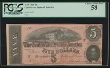 AC T-69 $5 1864 Confederate Currency CSA PCGS 58
