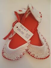Handmade Crochet Tie up leg Sandals - Red and white (Women's UK Size 6-7)