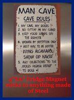 Man Cave Rules DECOR SIGN 4x6 Fridge Magnet Bar Toolbox Shop Refrigerator Photo