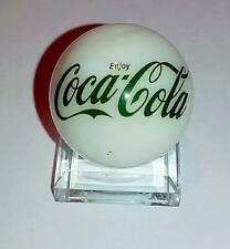 """Coca Cola Green Glass 1"""" Logo Marble With Stand"""