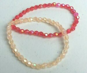 Handcrafted Bracelets Red and Cream Irridescent Stretch USA Set of 2
