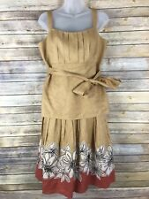 Lafayette 148 Womens Skirt Tank Set 100% Linen Pleated Skirt Appliqué Beige 8