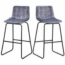 Set of 2 Velvet Bar Stools Pub Chairs w/ Metal Legs Dining Kitchen Modern Gray