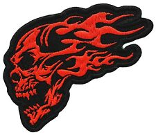 "FLAMING SKULL 2.75"" X 4"" ORANGE EMBROIDERED MC PATCH"