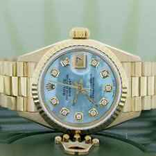 Rolex President Datejust Ladies Gold 26MM Watch 69178 w/Blue MOP Diamond Dial