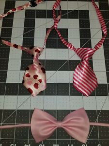 DOG/CAT NECK TIES Adjustable LOT OF 3 Pinks Hearts& StripesUS SELLER Lot4 GIRLS!