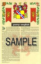 PERRY Armorial Name History - Coat of Arms - Family Crest GIFT! 11x17