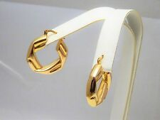 "Uno-a-Erre Italy Solid 14K Yellow Gold Origami Fold Hoop Earrings 1+"" Not Scrap"