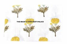 10 Yard Indian Hand Block Print Fabric 100 % Cotton White Sun Flower Fabric