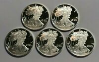 Lot of 5 1 oz .999 Fine Silver Sunshine Mint Walking Liberty Rounds in Flips