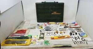 Vintage Fishing Gear Lot Lures, Hooks, Bait, Shiners W/ Rebel Excalibur Case