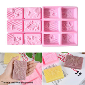 US Rectangle Baking Bee Honeycomb Soap Mold 3D DIY Silicone Candle Cake Making