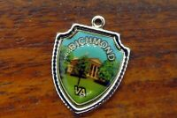 Vintage sterling silver RICHMOND VIRGINIA STATE CAPITOL TRAVEL SHIELD charm #E34