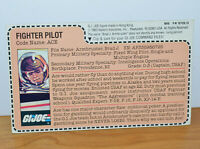 "VINTAGE GI JOE ACE FIGHTER PILOT FILE CARD ACCESSORY 3.75"" ARAH HASBRO 1983"