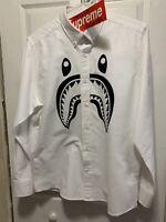Bape A Bathing Ape Shark Logo White Button Down Shirt size XL Box
