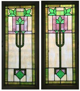 Pair Antique Vintage c1910 Craftsman Arts & Crafts Windows Kokomo Glass Restored