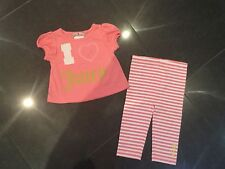 Juicy Couture New & Genuine Cotton Peach 2 Piece Baby Girl 6/12 MTHS With Logo