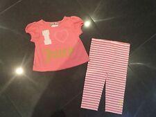 Juicy Couture & Algodón Melocotón 2 Unidades Bebé Niña 6/12 MESES Con Logo