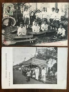 2 X SOUTHEAST ASIA OLD POSTCARD CAMBODIA CAMBODGE CHILDREN TO FRANCE 1910 !!