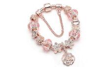 18K Rose Gold Plated Flower Crystal CZ Charm Bracelet Made with Swarovski