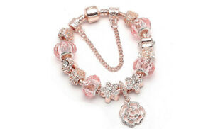 18K Rose Gold Plated Flower Crystal CZ Charm Bracelet Made with Swarovski