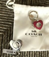 COACH Key FOB RIng Turnlock VALET Pink Heart  Sparkle Enamel NWT And giftbag $50