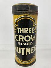 Three Crow Brand Nutmeg Spice Tin Early Round Version Vintage Rockland ME Maine
