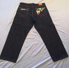 Coogi Mens Jeans 42 x 34 Dark Blue Denim  Embroidered Big Tall Urban Wear