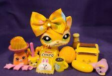 Authentic Littlest Pet Shop #1451 Tiger Cat Yellow White Orange Stripe Green Eye