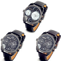 Men's Two Time Zones Multi-Function  Cool Quartz Wrist Watch Faux Leather Band
