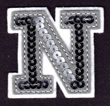 """LETTERS - Silver Sequin 2"""" Letter """"N"""" - Iron On Embroidered Applique"""