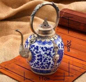 Antique Collectible Handmade Silver & Blue and white Porcelain Inlaid Teapot