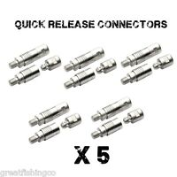 5 x QUICK RELEASE CONNECTORS,  COARSE MATCH FISHING BANK STICKS KEEP NETS