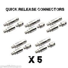 5 x QUICK RELEASE CONNECTORS, CARP COARSE MATCH FISHING BANK STICKS KEEP NETS