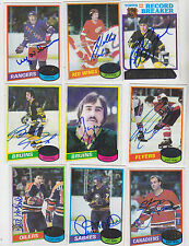 1980-81 TOPPS SIGNED CARD GUY LAFLEUR MONTREAL CANADIENS NORDIQUES RANGERS # 10