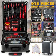 918 pcs Tool Set Standard Metric Mechanics Kit Case Box Organize Castors Trolley