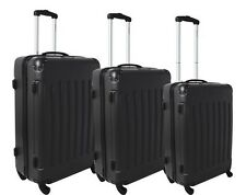 Dejuno Black ABS Hard Case 3-PC Rolling Spinner Luggage Suitcase Set - 4 Wheels