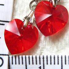 Handmade Earrings using SWAROVSKI element 1cm AB Crystal heart Light Siam CA1