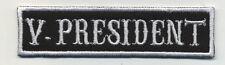 vice president patch badge car club motorcycle biker MC vest jacket black white