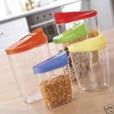 5 FOOD POUR CONTAINERS * CEREALS PASTA NUTS RICE BEANS BOXES DISPENSER STORAGE